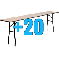 High Quality Package of 20 8ft Wooden Folding Tables
