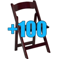 High Quality Package of 100 Padded Mahogany Wood Frame Folding Chairs
