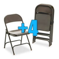 High Quality Package of 4 Heavy Duty Mocha Metal Folding Chairs