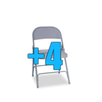 High Quality Package of 4 Padded Grey Metal Folding Chairs