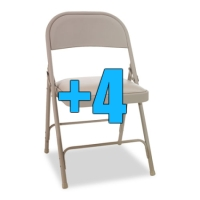 High Quality Package of 4 Padded Tan Metal Folding Chairs