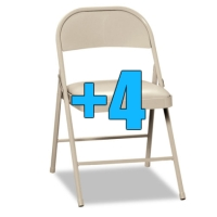 High Quality Package of 4 Padded Light Beige Metal Folding Chairs