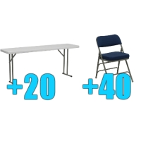 High Quality Package of 40 Upholstered Folding Chairs + 20 6ft Folding Tables