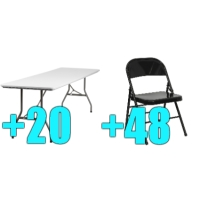 High Quality Package of 48 Black Steel Frame Folding Chairs + 20 8ft Folding Tables