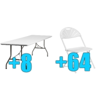 High Quality Package of 64 White Steel Frame Folding Chairs + 8 8ft Folding Tables
