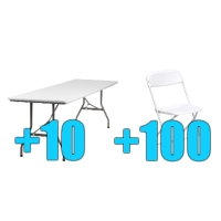High Quality Package of 100 White Steel Frame Folding Chairs + 10 8ft Folding Tables