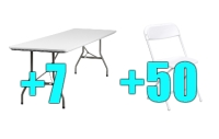 High Quality Package of 50 White Steel Frame Folding Chairs + 7 8ft Folding Tables