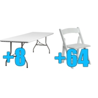 High Quality Package of 64 White Wood Frame Folding Chairs + 8 8ft Folding Tables