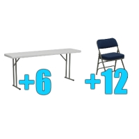 High Quality Package of 12 Upholstered Folding Chairs + 6 6ft Folding Tables