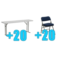 High Quality Package of 20 Upholstered Folding Chairs + 20 6ft Folding Tables