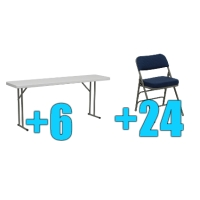 High Quality Package of 24 Upholstered Folding Chairs + 6 6ft Folding Tables