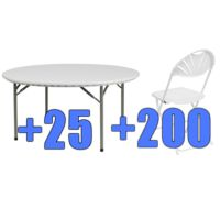 High Quality Package of 200 White Steel Frame Folding Chairs + 25 5ft Round Folding Tables