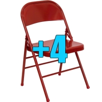 High Quality Package of 4 Heavy Duty Red Metal Folding Chairs