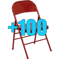High Quality Package of 100 Heavy Duty Red Metal Folding Chairs