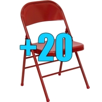 High Quality Package of 20 Heavy Duty Red Metal Folding Chairs