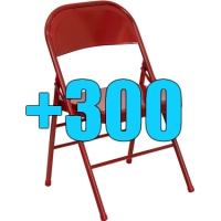High Quality Package of 300 Heavy Duty Red Metal Folding Chairs