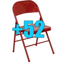 High Quality Package of 52 Heavy Duty Red Metal Folding Chairs