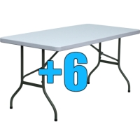 High Quality Package of 6 5ft Folding Tables