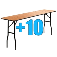 High Quality Package of 10 6ft Wooden Folding Tables