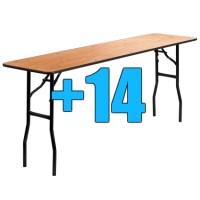 High Quality Package of 14 6ft Wooden Folding Tables