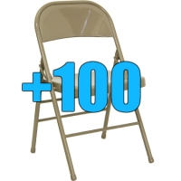 High Quality Package of 100 Beige Steel Frame Folding Chairs
