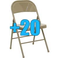 High Quality Package of 20 Beige Steel Frame Folding Chairs