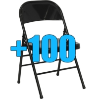 High Quality Package of 100 Black Steel Frame Folding Chairs