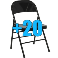 High Quality Package of 20 Black Steel Frame Folding Chairs