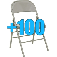 High Quality Package of 100 Grey Steel Frame Folding Chairs