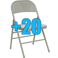 High Quality Package of 20 Grey Steel Frame Folding Chairs