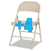 High Quality Package of 4 Heavy Duty Tan Metal Folding Chairs