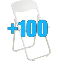 High Quality Package of 100 White Heavy Duty Steel Frame Folding Chairs