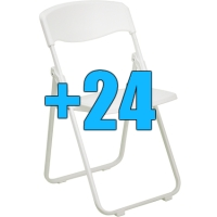 High Quality Package of 24 White Heavy Duty Steel Frame Folding Chairs