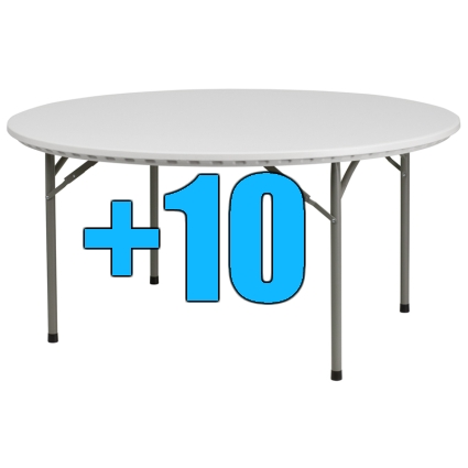 High quality package of 10 5ft round folding tables for 10 foot round table