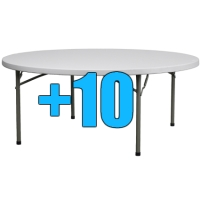 High Quality Package of 10 6ft Round Folding Tables