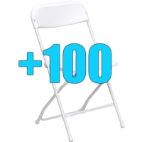 High Quality Package of 100 White Steel Frame Folding Chairs