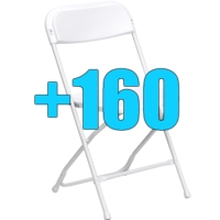 High Quality Package of 160 White Steel Frame Folding Chairs