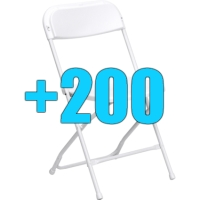 High Quality Package of 200 White Steel Frame Folding Chairs