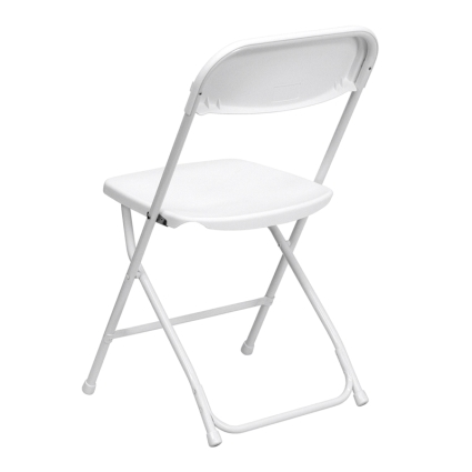 high quality package of 150 white steel frame folding chairs