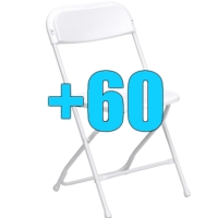 High Quality Package of 60 White Steel Frame Folding Chairs