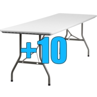 High Quality Package of 10 Heavy Duty 8ft Folding Tables