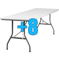 High Quality Package of 8 Heavy Duty 8ft Folding Tables
