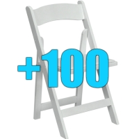High Quality Package of 100 Padded White Wood Frame Folding Chairs