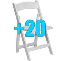 High Quality Package of 20 Padded White Wood Frame Folding Chairs