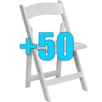 High Quality Package of 50 Padded White Wood Frame Folding Chairs