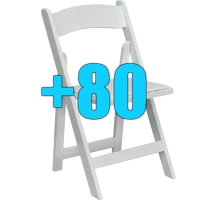 High Quality Package of 80 Padded White Wood Frame Folding Chairs