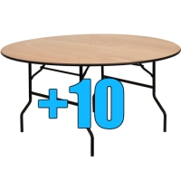 High Quality Package of 10 5ft Round Wood Top Folding Tables