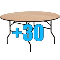 High Quality Package of 30 5ft Round Wood Top Folding Tables