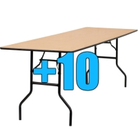 High Quality Package of 10 Wooden 6ft Folding Tables