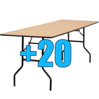 High Quality Package of 20 Wooden 8ft Folding Tables